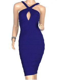 Sexy Halterneck Solid Color Off Breast Women's Bandage Dress