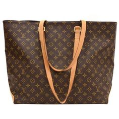 Preowned Louis Vuitton Cabas Alto Xl Monogram Canvas Shoulder Tote Bag ($860) ❤ liked on Polyvore featuring bags, handbags, brown, monogrammed purses, shoulder strap handbags, polka dot purse, cell phone purse and canvas shoulder bag