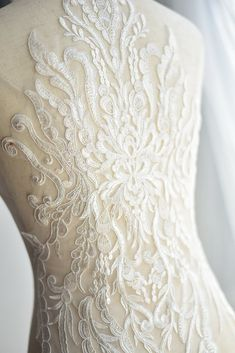 Items similar to Exquisite Wedding Lace Applique in Ivory , Illusion Bridal Veil Applique for Wedding Gown Back , Bridal Dress Decor, Bodice on Etsy Applique Wedding Dress, Applique Dress, Boho Wedding Dress, Bridal Dresses, Wedding Gowns, Bridal Hair Flowers, Bridal Lace, Wedding Cales, Bridal Jumpsuit