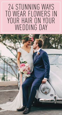 HOW TO WEAR FLOWER CROWNS AND FLOWERS FOR YOUR WEDDING DAY: Here are 24 gorgeous ways to wear a flower crown on your wedding day including boho styles, classic styles, modern styles, feminine styles, and more. This roundup includes hairstyle ideas and more ways to incorporate pretty florals on your wedding day. Click through for the hair and flower bridal inspiration you need to see!