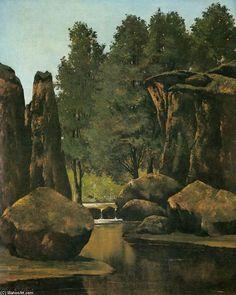 'landschaft', öl auf leinwand von Gustave Courbet (1819-1877, France)
