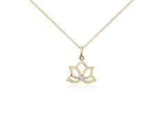 Mini Lotus Diamond Pendant in 14k Yellow Gold | Blue Nile