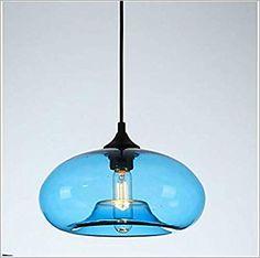 Amazon.com: YAOHM Pendant Light Ambient Light Glass Mini Style 110-120V / 220-240V Bulb Not Included / E26 / E27,Blue,110~120V: Home & Kitchen Blue Glass Lamp, Blue Pendant Light, Ambient Light, Metal Finishes, Pendant Lighting, Bulb, Ceiling Lights, Amazon, Mini