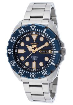 Seiko SRP605K1 Watches,Men's Monster Auto Stainless Steel Cadet Blue Dial, Sport Seiko Automatic Watches