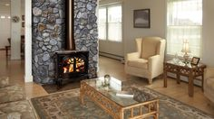 wood stove with fireplace