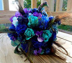 Peacock bridal bouquet teal purple blue bridal by DressMyWedding, $99.00