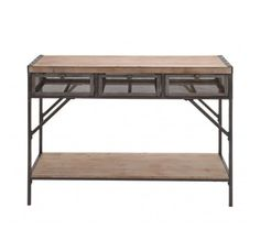"""43"""" Industrial Inspired Distressed Wood and Iron Three Drawer Console Table, lateral metal mesh drawers with knob pulls, natural wood top and bottom shelf, stud"""