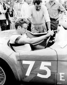 James Dean, preparing for a race, probably.