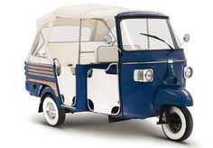 Here are a few dreamy vintage rides for exploring the countryside this summer. The lovely Vespa Ape Calessino, a popular Mediterranean ru. Piaggio Ape, American Graffiti, Vw Bus, Scooters, Vespa Ape, Third Wheel, Harrison Ford, Small Cars, Golf Carts