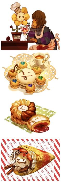 Flowey and Frisk...the food looks so good