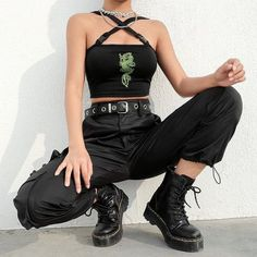 Crop Top Outfits, Cute Casual Outfits, Edgy Outfits, Mode Outfits, Retro Outfits, Cute Grunge Outfits, Fall Outfits, Grunge Clothes, Green Outfits