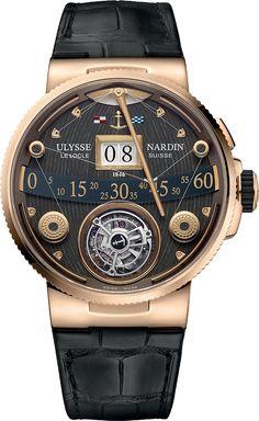 La Cote des Montres : La montre Ulysse Nardin Marine Grand Deck Tourbillon en or rose - Manifestement d'inspiration nautique