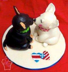 Perros Chihuahua, hechos de queque de Chocolate y Red Velvet