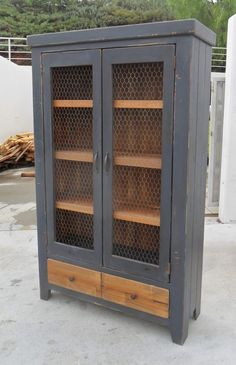 Bookcase Display Cabinet China Cupboard by VintageMillWerks Repurposed Furniture, Rustic Furniture, Painted Furniture, Diy Furniture, Furniture Vintage, Industrial Furniture, Vintage Industrial, Furniture Design, Chicken Wire Cabinets