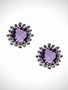 Dew Drop Collection - Snowflake Earrings - Amethyst Stud