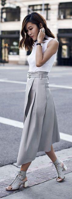JW FIELD SERVICE | #jw #jwfashion #jw_modest_fashion | Grey Leather Skirt by Tsangtastic