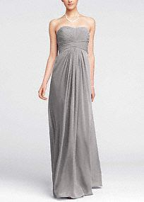 Long Strapless Chiffon Dress with Pleated Bodice / David's Bridal F15555 - You can see this dress in different colors on the website. I love the petal color.