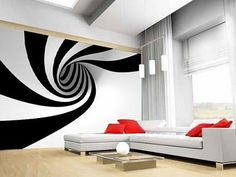stylish living room decorated with optical wall paper - Embellish your home decor with the optical art