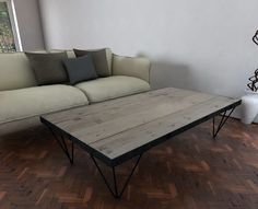 Unique Hairpin leg design. Reclaimed wooden coffee table at naturalcityfurniture.com