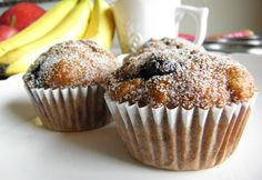 Blueberry Banana Muffins…whole wheat, no added fat AND super moist?  YES!  :D