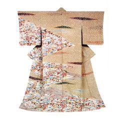 Kimono by National Living Treasure of Japan, Toshijiro INAGAKI (1902~1963)