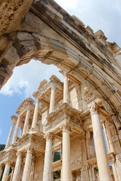 Public library in ancient city Ephesus, Turkey (Construction was completed in 120 AD. Shows that public libraries were built throughout the Roman Empire.)