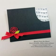 """17 """"Music from the Heart"""" samples by Dawn Olchefske, Stampin' Up! Million Sales Achiever - coming Jan 2020 Fun Fold Cards, Cool Cards, Valentine Crafts For Kids, Valentines, Alphabet Stamps, Up Music, Anna Griffin Cards, Christmas Rose, Shaped Cards"""