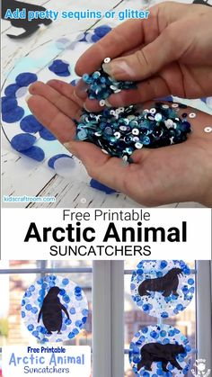 This Arctic Animal Suncatcher Craft Is A Gorgeous Winter Craft For Kids. Balance Them In A Window Or From The Ceiling And They Look Super Pretty When The Light Shines Through Them. 6 Free Printable Polar Animal Silhouettes To Choose From. Kids Crafts, Snow Crafts, Animal Crafts For Kids, Art For Kids, Snow Preschool Crafts, Clay Crafts, Polar Animals Preschool Crafts, Felt Crafts, Preschool Winter