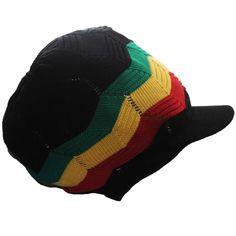 Rasta Hat Peak Sloucy Crown Marley Reggae Jamaica Rastacap Jah Love Irie L/XL