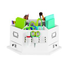 This handy, compartmentalized desktop carousel is perfect for keeping all your markers, scissors, pens, pencils, inks, brushes and more tidy, organized and accessible.
