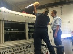 Getting the bus ready for the Dumfries Boys and Girls Club