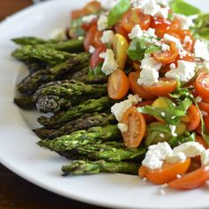 Grilled Asparagus with Tomato Salad and Goat Cheese | Virtually Homemade #easter #dinner