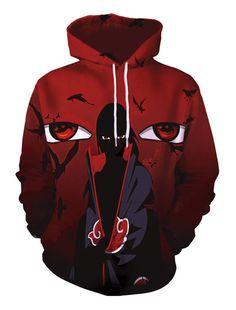 Naruto Akatsuki Cool Character Pattern Long Sleeve Cosplay Costume Hoodie in Red Filles Image Seniors, Sweat Shirt, Bordeaux, Itachi Uchiha, Hooded Sweatshirts, Hoods, Burgundy, Pullover, Sleeves