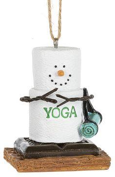 S'mores Snow woman Yoga ornament. 1 3/4'' W. x 2 1/2'' H. Item Sm170828.