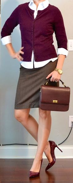 Outfit Posts: burgundy cardigan,white button-down, burgundy patent-leather pumps, brown pencil skirt & bag: it all works