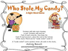 Free Halloween Sight Word Game