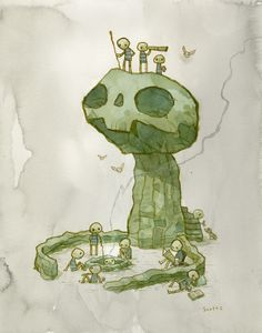 """""""The Retreat"""" by Scott Campbell. Just a bunch of skull dudes, hangin' around."""