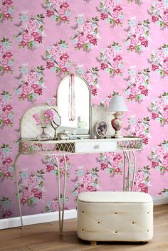 Tapetti Flowers & Birds 138120 m vaaleanpunainen non-woven Polka Dot, Nostalgia, Birds, Flowers, Room, Frozen, Inspiration, Furniture, Colors