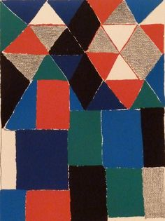 thirdorgan: Sonia Delaunay / Composition with Triangles and Squares, circa 1970s