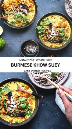 Vegetarian Burmese Khow suey - Burmese style Vegan Noodles soup with an aromatic coconut broth and crunchy toppings..Comforting and easy dinner recipe..! #soup #noodles #vegan #vegetarian #dinnerideas #easyrecipes #instantpot #meatlessmonday #coconutmilk | cookingwithpree.com