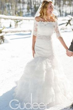 Beautiful Off the Shoulder Lace Embroidered Dropped Waist Wedding Dress