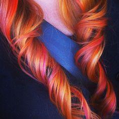 orange hair....Pravana Vivids magenta and Orange. Hair By Alix Padilla at The Bobbypin Hair Gallery Ybor City Florida!