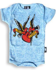 Six Bunnies Baby TRUE LOVE BIRDS Strampler.Tattoo,Biker,Oldschool,Custom Style