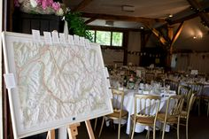 Tables named after places, table plan on map - nice idea