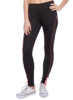 Rainbow Solid Performance Leggings With Color Block And Contrast Trim Sweat It Out, Rainbow Shop, Contrast, Leggings, Stylish, Pants, Shopping, Color, Fashion