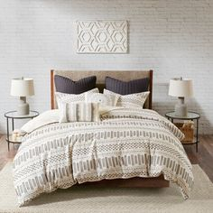 The Curated Nomad Natoma Ivory/ Charcoal Cotton Jacquard Duvet Cover Set (Ivory/Charcoal - Full - Queen), Gray Bed Sets, Duvet Sets, Duvet Cover Sets, Queen Comforter Sets, Set Cover, King Duvet, Queen Duvet, Hemnes, Console