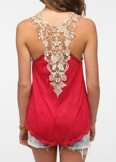 Sweet Scoop Neck Sleeveless Back Openwork Lace Backless Tank Top For WomenVests & Tank Tops | RoseGal.com