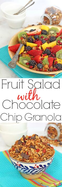 A delicious and healthy breakfast of fresh fruit and chocolate chip granola, topped with a honey lime dressing | My Fussy Eater Blog