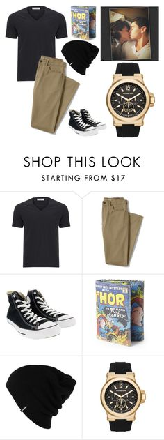 """DuUuUuUdE"" by fashion-freak-out on Polyvore featuring Versace, Lands' End, Converse, Marvel, Patagonia, Michael Kors, men's fashion and menswear"
