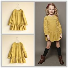 New Arrival 2013 Fashion Girls Corduroy Dress yellow color children clothing for 3-12 years olds